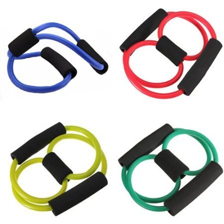 Cable World Total Body Finess Stretch Body Toning and Stretching Travel Exercise tube 8 type resistance band exercise tube yoga pull up equipment Yoga Fitness For Men and Women - Multi-coloured  available at amazon for Rs.199