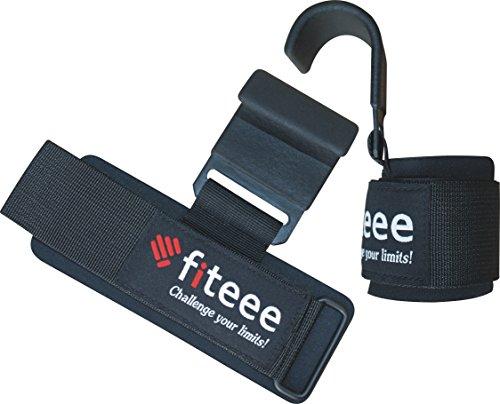 Fiteee Pulling Aids - Unisex Krafttraining Gewichtheben Handgelenkstütze, Schwarz Paar - Pro Stärke Gainer