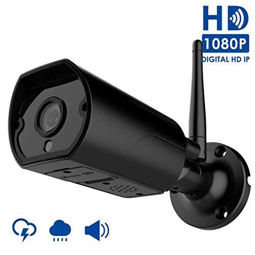 Telecamera Sorveglianza Wifi Esterno 1080P, Videocamera IP Wireless Outdoor, H.264+ Videosorveglianza IP66 Impermeabile Visione Notturna Sensore di Movimento Audio Bidirezionale Nero-REIGY