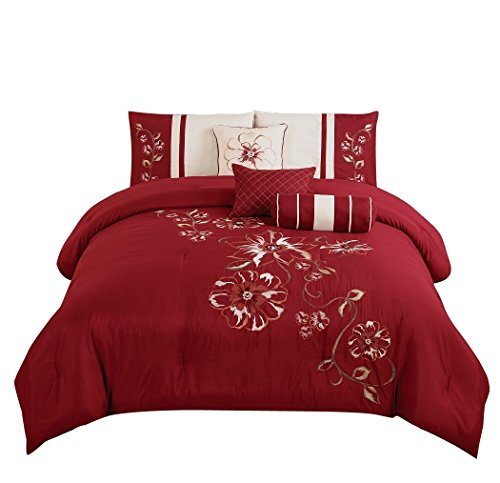 chezmoi Kollektion 7-teilig rot Blumen Hibiskus Stickerei beige Tröster Betten Set (Queen)