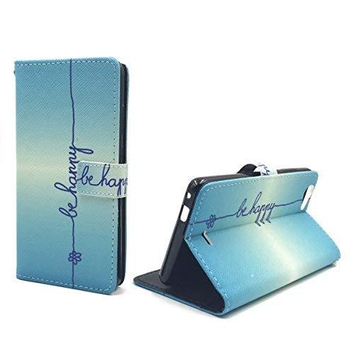 König-Shop Handy-Hülle für Wiko Pulp Fab 4G Klapp-Hülle aus Kunst-Leder   Inklusive Panzer Schutz Glas 9H   Sturzsichere Flip-Case in Blau   Im Be Happy Blau Motiv