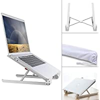 Klearlook Laptop Stand, Foldable Portable Ventilated Desktop Laptop Holder with Lightweight&Space-saving, Universal Adjustable Ergonomic Tray Mount for MacBook/Laptop/Notebook Computer/Tablet-White