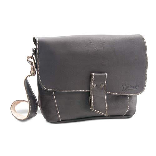 Made in Germany Vintage Handtasche - Schultertasche VENEZIA aus hochwertigem Leder in dunkelbraun inkl. Bio-Lederpflege von THIELEMANN -