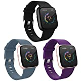 WASPO for Fitbit Versa Strap Silicone, Classic TPU Silicone Sport Replacement Bands compatible with Versa/Versa Lite/Versa Special Edition/Versa 2, Women Men Small Large