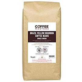Coffee Masters Brazil Yellow Bourbon Coffee Beans 1kg – Single Origin 100% Arabica Coffee Beans for a Heavy Bodied…