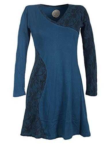 Vishes - Alternative Bekleidung - Asymmetrisches Damen Lagenlook Kleid Baumwolle mit Spizze Bedruckt türkis 44