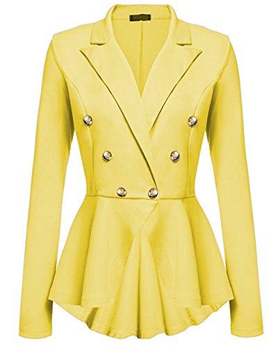 Blazer Jacke Elegant Freizeit Schlank Business Lange Hülse Büro Jacken Knopf Anzug Damen Gelb S -