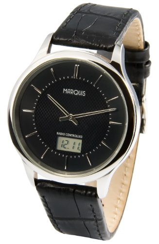 MARQUIS Herren Funkuhr, Edelstahlgehäuse, Schwarzes Lederarmband, Armbanduhr, Junghans-Uhrwerk 964.6019