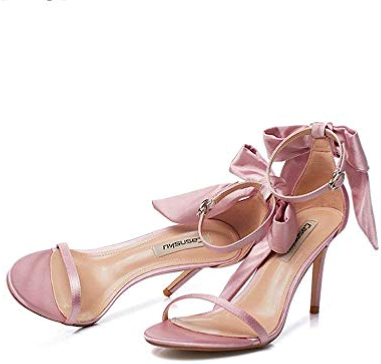 Eeayyygch Chaussures 8.5cm Rose, Talons Hauts Boucle Rouges,  s, Étudiante Occasionnelle, Boucle Hauts nœud en Satin...B07JX7L4NBParent 30f393