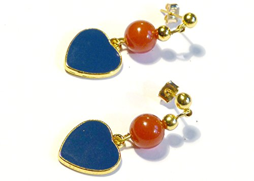 ♥ KARNEOL & BLAUES HERZ ♥ - wunderschöne Ohrstecker- Ohrringe, Farbe: gold, blau, rot - Material: Karneol, vergoldet Elemente