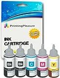 5 Tinten für Epson EcoTank ET-2500 ET-2550 ET-2600 ET-4500 ET-4550 ET-14000 L120 L200 L210 L310 L350 L355 L365 L555 L1300 | kompatibel zu Epson T6641 T6642 T6643 T6644 | Tintenflaschen zum Nachfüllen