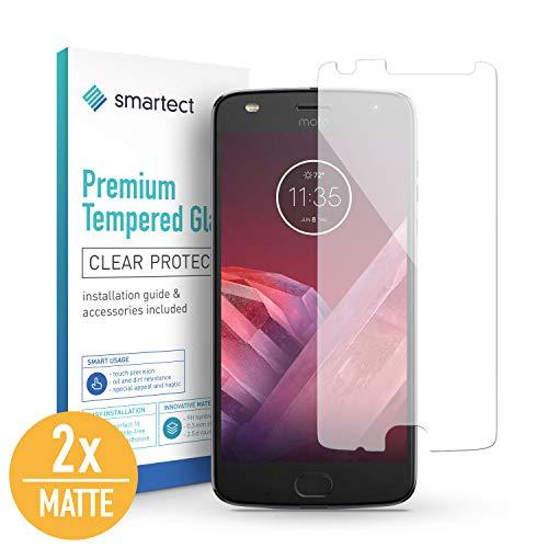 SmarTect [2X Mat Protector de Pantalla de Cristal Templado para Motorola Moto Z2 Play Lámina Protectora Ultrafina de 0,3mm | Vidrio Robusto con Dureza 9H y Antihuellas Dactilares