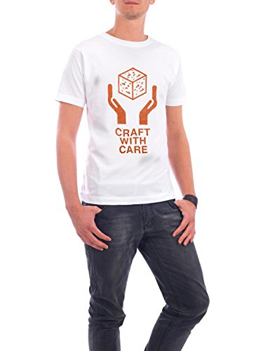 "Design T-Shirt Männer Continental Cotton ""Craft with care"" - stylisches Shirt Motiv von Florent Bodart Weiß"