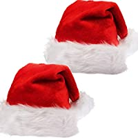 2 Pack Santa Hat, Christmas Santa Hats Thickened Plush Red Velvet with White Cuffs Comfort Liner for Adult, Women, Men, Teens