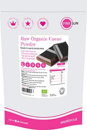 PINK SUN Cacao en Polvo Crudo Orgánico 1kg Bio (o 500g) Puro Sin Azúcar Añadido Sin Gluten Sin Lácteos Vegetariano Vegano Ecologico Raw Organic Cacao Powder Criollo Cocoa Perú 1000g Bulk