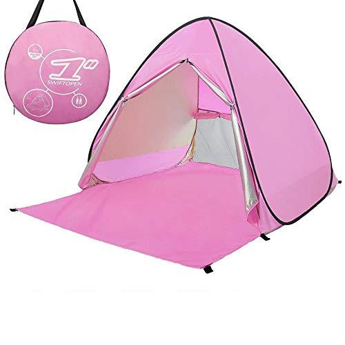 Simanli Leichtes Zelt Wasserdicht Wurfzelt Anti UV, Pop Up Strandmuschel UV Schutz für 2-3 Personen Outdoor Aktivitäten Wandern Camping Reisen Beach Angeln oder Garten. (Pink)