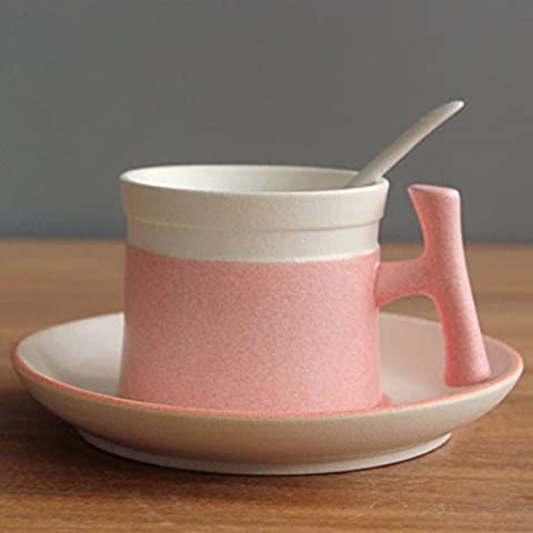 beibeilove snow-shape smaltato in ceramica tazza di tè caffè con piattino e cucchiaio set Pink
