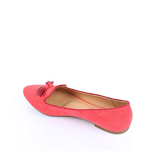 Ideal-Ballerina-Shoes babouches mit pompons strassés Solly Rot - rot