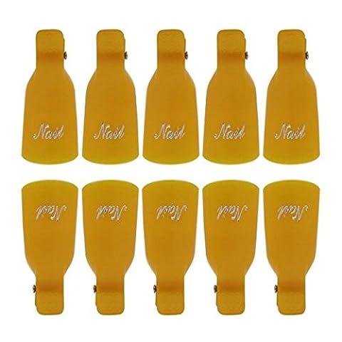 100/Set Nail Polish Remover Tools, Transer® 3Farben Nail Art Pinsel Werkzeug 10Kunststoff Nail Art Soak off Gap Clip UV Gel Polish Remover (Bead Trim Top)