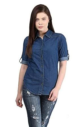 Trendy frog Women Long Sleeve Denim Shirt Top, Light Blue, Small Size