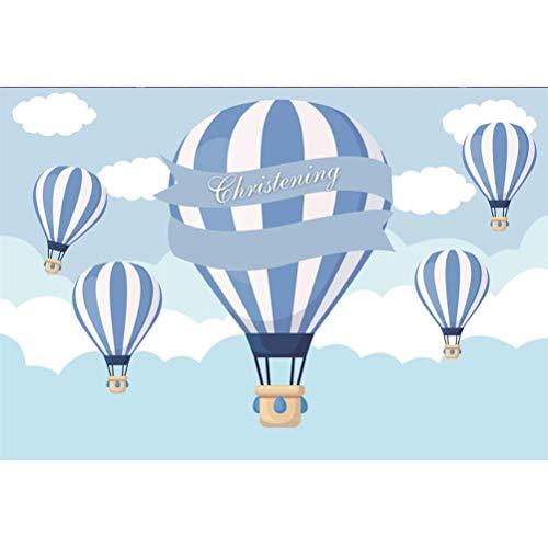 EdCott 7x5ft Taufe Baby Taufe Thema Vinyl Fotografie Hintergrund Cartoon blau gestreiften Feuer Luftballons Wolken Illustration Kulissen Kind Baby Boy schießen erste Heilige Kommunion Banner