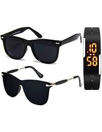 Sheomy UV Protected Aviator Unisex Sunglasses with Digital Watch (Black, 55) - Set of 3