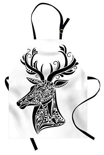 Abakuhaus antlers grembuıle da cucına, tatuaggio animale dei cervi, tecnologia stampa moderna che devia dall'acqua e dalla macchia, nero bianco