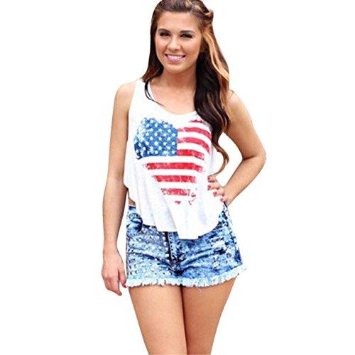 LHWY Damen Fashion America Flag Sleeveless Druck Tank Tops Vest t-shirt White