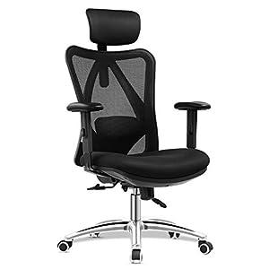 mfavour Ergonomisch Bürostuhl, Schreibtischstuhl Computer Stuhl drehstuhl mit Netz-Design-Sitzkissen, Verstellbare Kopfstütze und Armlehnen, Wippfunktion, Sitzhöh, Maximale Belastbarkeit 150 kg