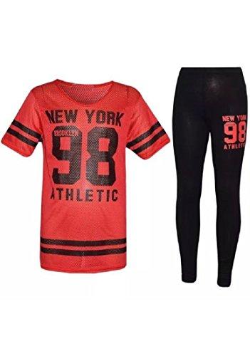 New Girls York 98 Net Tracksuit Baseball Top & Leggings Age 7-13 Years (11-12 Years, Red)