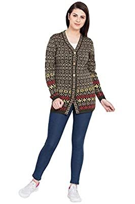 BOXYMOXY Designer Brown Multi Woolen Sweater Cardigan with Buttons for Girls & Women