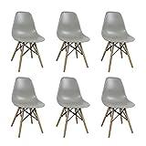 Set di 6 SEDIE di Design Moderne in ABS Grigio Struttura in Metallo Verniciato Nero Gambe in Legno MASSELLO di FAGGIO per Sala da Pranzo Cucina Ristorante Bar Hotel Ufficio Sala Camera da Letto