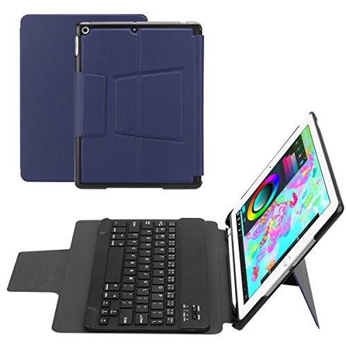 for ipad air 1/air 2 /pro 9.7 /ipad 9.7(2018/2017) Separable Tablet Keyboard Case Intelligent American Wireless Keyboard with Pen Holder (Dark Blue) (American Wireless Keyboard)