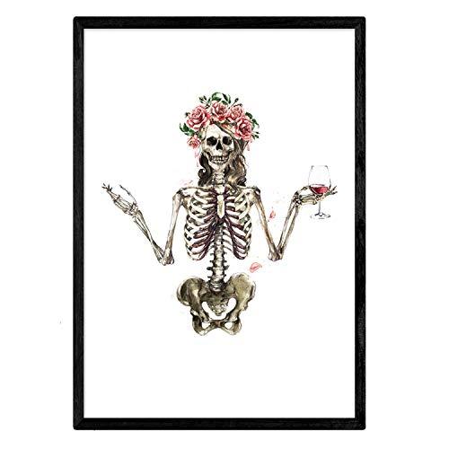 Nacnic Lámina Esqueleto Chica con Vino y Flores. Posters con...