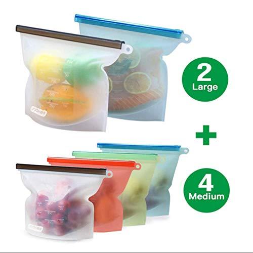 YUJOY Küche Beutel Silikonbeutel Wiederverwendbar - BPA Frei Silikon Nahrungsmittel Aufbewahrungsbeutell für Obst Gemüse Fleisch Suppe, Lebensmittel Beutel Vielseitige Konservierung Tasche (6Pcs)