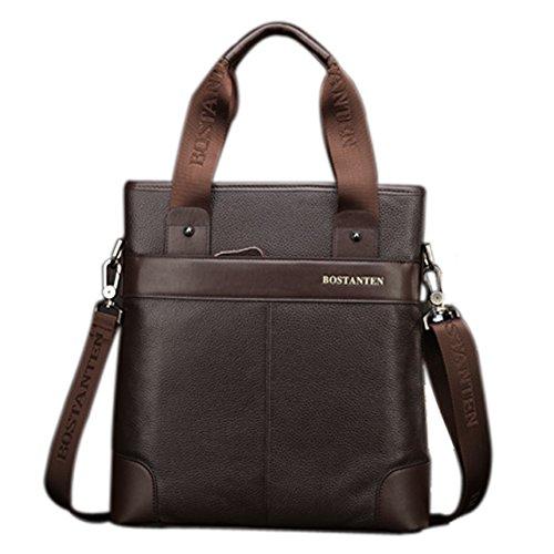 YAAGLE Herren Business Taschen echtes Leder Handtasche Kuriertasche Aktentasche Umhängetasche Reisetasche-coffee coffee