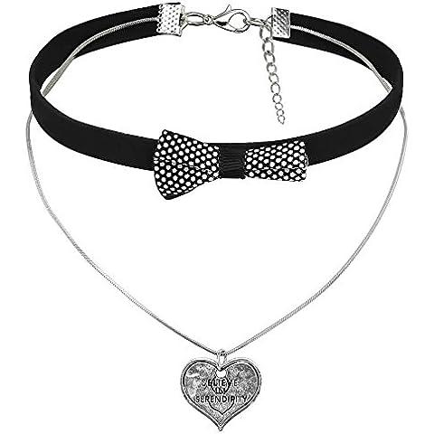 AnaZoz Joyería de Moda Collar Cuello Gargantilla Terciopelo de Mujer Colgante Lazo Mariposa Corazón Plata Negro Collar Para Mujer