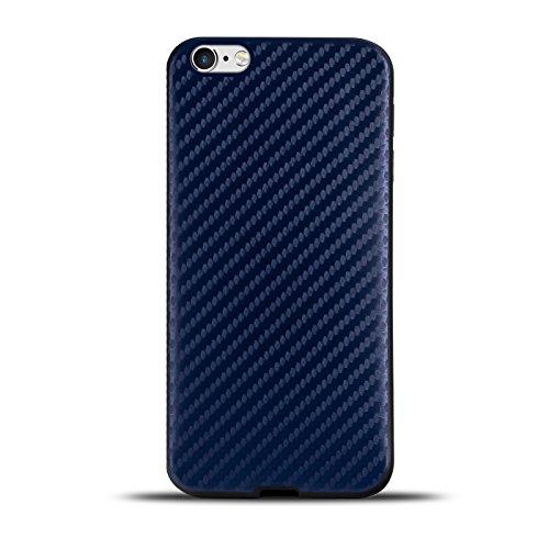 Ultraslim TPU Backcover - Case in Carbon Look für - Apple iPhone 4 - Rückschale Bumper aus Silikon Farbe: Schwarz Blau