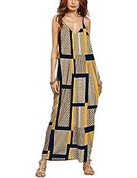 Playa vestido, las mujeres cuello de pico verano Casual Loose tiras en forma de larga Boho Maxidress, Floral impresión de Grandes sin mangas vestido de cóctel Velada Fiesta Vacaciones de playa, 10Color disponibles XL color5