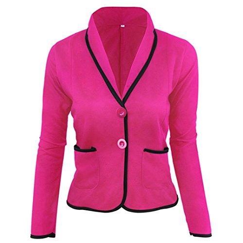 SEWORLD 2018 Damen Mode Sommer Herbst Elegant Schal Business Mantel Blazer Anzug Langarm Tops Dünne Jacke Outwear Größe S-6XL(Hot Pink,EU-48/CN-5XL)