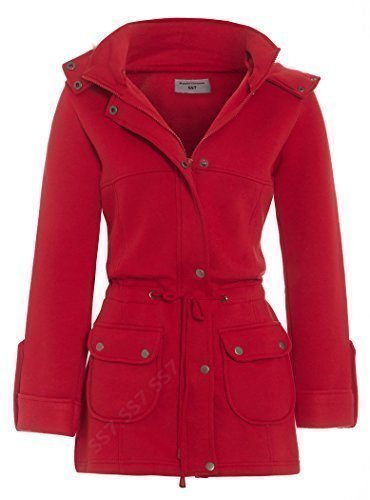 SS7 New Girls Faux Fur Trim Coat, Red, Age 7 to 13 Years