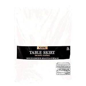 Jupe de table en plastique blanche 4m27
