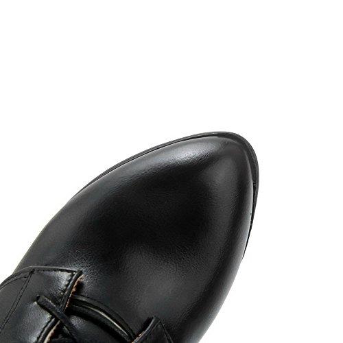 AgooLar Damen Niedrig-Spitze Schnüren Spitz Zehe Stiefel mit Anhänger Schwarz