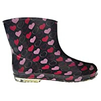 KIDS NEW WELLIES BOYS GIRLS WELLINGTON BOOTS CHILDRENS RAINY SNOW FOOTWEAR 9 SIZES AVAILABLE 20 DIFFERENT STYLES (7, STYLE 10 - BLACK WITH PINK HEARTS)