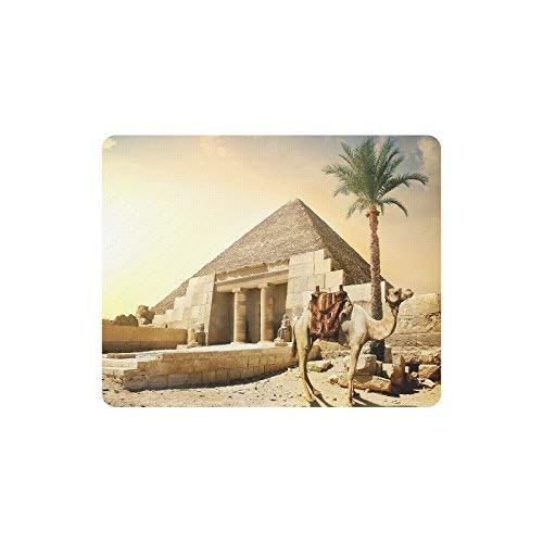 Luancrop Ägypten-Kamel nahe Pyramide und Spalten mit Statuen-Rechteck-rutschfestem Gummilaptop Mousepad Mausunterlagen/Mauspad-Fall-Abdeckung mit Entwürfen (Spalten Dekoration Für Die Sie Kaufen)