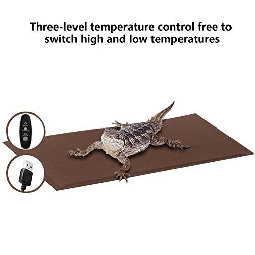SHOH Reptilien-Heizkissenmatte, Heizmattenthermostat, Temperaturregelung, Einstellbare Reptilien-Tankwärmermatte Mit Temperaturregler, Passend Für Schildkröten, Schlangen, Echsen, Geckos