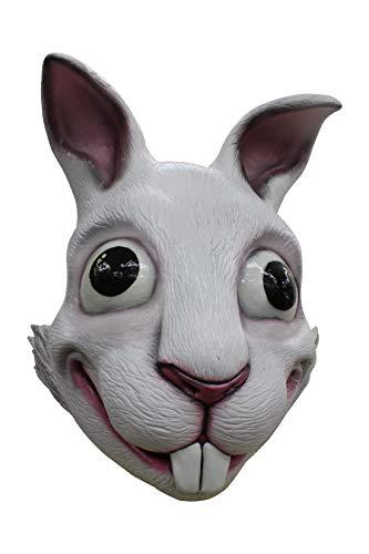 er-Bunny Latex-Maske Halloween Weiss-schwarz Einheitsgröße ()