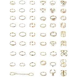 YADOCA 52 Unids Set Anillos Oro Mujer Niña Vintage Anillos Midi Boho Conjunto Anillos por Juego De Anillos De Aleación Diseñado para Chicas La Moda Hermoso