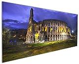 Wallario Küchenrückwand aus Glas, in Premium Qualität, Motiv: Italien bei Nacht - Kollosseum in Rom, beleuchtet am Abend | Spritzschutz | abwischbar | pflegeleicht