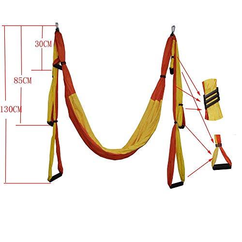 JESSIEKERVIN YY3 Anti-Schwerkraft-Luft-Yoga-Hängematte Farbanpassung Fallschirm-Stoffhängematte 6 Griffe Kein Gummiband (Farbe : Orange+Yellow)